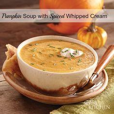 Pumpkin Soup with Spiced Whipped Cream Recipe #soup #pumpkin #fall
