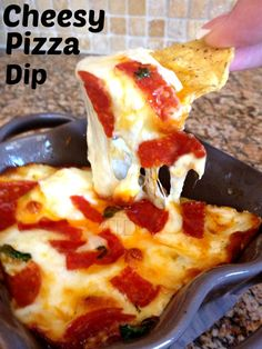 Cheesy Pizza Dip recipe. This is hands down my favorite dip now! It was so easy and super delicious! I cannot get enough of this!