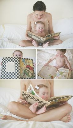 mommy + baby time, reading time :) -- I want to do this picture with big brother holding little brother and reading to him.
