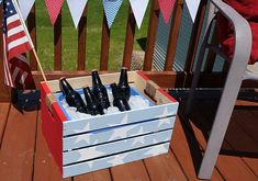 Patriotic Beverage Cooler using chalk paint on a wood crate