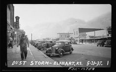 """Check out the Art & Architecture Library's latest digital exhibit, a collection of FSA photos that was responsible for """"introducing America to Americans."""" Dust Storm in Elkhart, KS by KU Libraries, via Flickr"""