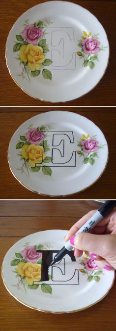 Revamp thrift dishes...would be cool to spell out a word on diff dishes and display somewhere idea, diy with plates, craft, plate diy, plates diy, diy tutorial, diy plate, print plate, plate sharpie