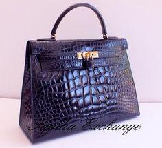 Authentic Hermes Crocodile Alligator Black Kelly 32 cm Sellier Gold Hardware | eBay