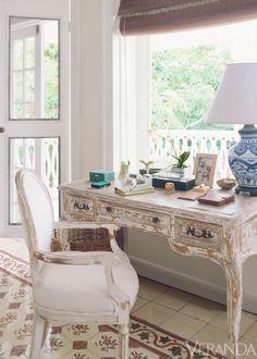 India Hicks' whitewashed desk