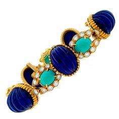 Van Cleef & Arpels Lapis Lazuli Turquoise Diamond Gold Bracelet c1970s