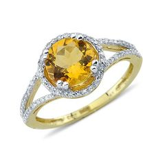 Solitaire Round Cut Prong Set Citrine Diamond Gemstone Ring in 14K Yellow Gold    $345.00