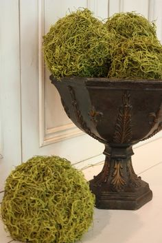 DIY moss balls *instead of buying Styrofoam balls, use a bouncy ball you can inflate/deflate and use modge podge to create a bottom layer & then hot glue extra moss around the new moss ball once the ball is removed OR use any found round object you'd normally throw out/recycle and hot glue the moss to it*