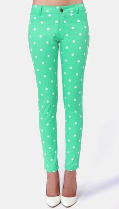 polka dot jeans, skinni jean, green polka dots, jean pan, closet, dot skinni, polka dot clothes, mint polka