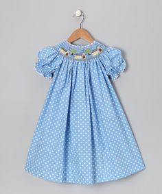 Take a look at this Blue Polka Dot Bishop Dress by Jadi Lane on #zulily today!- have to find it elsewhere- so.oo cute