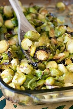 Oven Roasted Garlic Brussels Sprouts... I'd be willing to try these