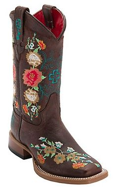 Anderson Bean Kid's Vintage Brown w/ Striking Multicolored Floral Embroidery Square Toe Western Boots