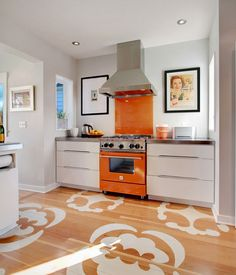 Small but looks Magnificent! decor, stencil pattern, stove, interior, contemporary kitchens, color, oranges, kitchen designs, painted floors