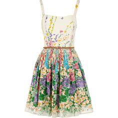 Floral Belted Dress ❤ liked on Polyvore