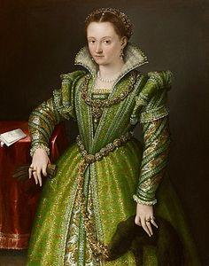 Lavinia FONTANA (Bologna 1552 - Rome 1614)   Portrait of Laura Gonzaga in Green   Oil on canvas, 34 5/8 x 44 1/16 in. ( 88 x 112 cm)