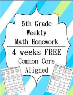 Fifth Grade Common Core Math Homework - FIRST QUARTER - 4 Weeks