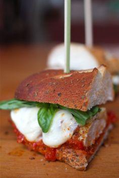Chicken Parmesan Hero Sandwiches with Basil