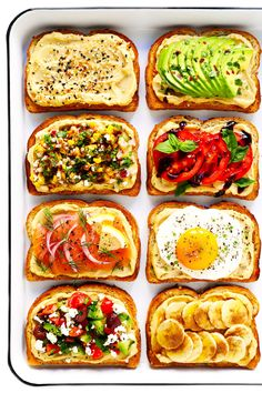 "Hummus Toast is fun to customize with your favorite toppings, and makes for a delicious easy breakfast, lunch, dinner or healthy snack! Read more for details on 8 of our favorite toppings -- ""everything"", avocado, elote, tomato basil, lox, fried egg, mediterranean or honey banana. 