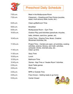 Half Day Preschool Daily Schedule submited images | Pic2Fly