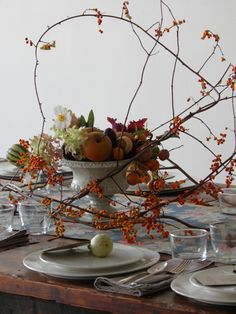 fall centerpiece at Sunday Suppers