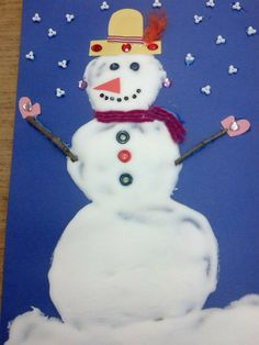 My snowlady made with snow paint (equal parts of white glue and shaving cream).  Dries like puffy paint.