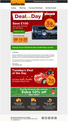 Halfords used a live animated countdown clock in this email to create a sense of urgency around the Christmas deal of the day. #emailmarketing #retail #countdownclock #holidayemail