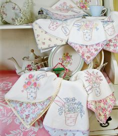Cottage Flower Pot Tea Towels from Crabapple Hill Studio.  I like the added material on the corner.