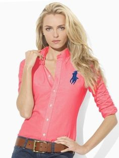 Ralph Lauren Womens Big Pony Cotton Shirts In Red 26$ only for online outlets! | See more about cotton shirts, ralph lauren and cotton. | See more about cotton shirts, ralph lauren and ponies.