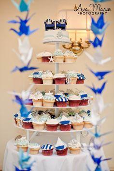 Nautical Wedding Cupcake Tower