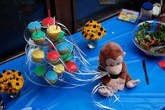 birthday, georg parti, parties, balloon cupcak, balloons, bday parti, kruse custom, beth kruse, curious george party