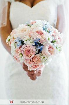Vintage pastel bridal bouquet with 'Juliette' garden roses, pink spray roses, light blue delphinium and white stock. Full satin ribbon and rhinestone detail on handle. Twitter: #fleurdlisflower, facebook.com/fleurdlisflowers, Diana Shammas Culver. San Diego weddings.