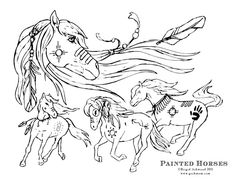 Wild Horses Printable Fun Coloring Page Paper Craft