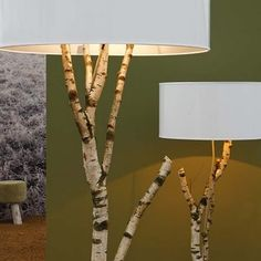 floor lamps, idea, birches, nature, blue, trees, tree branches, light, design