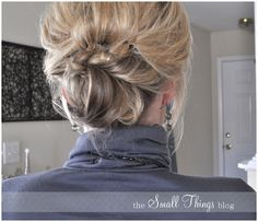 Knotty or Nice:  Just did this!!!  It took about 5 minutes, and a lot of bobby pins and hairspray. Since my hair is quiet a bit longer then her's I used a clear elastic to put my hair in a pony tail, then did a twisted bun!  Very cute.