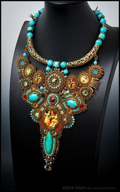 Vintage Dark Gold Necklace by Guzialia Reed