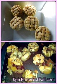 pie bake, epic fail, mini apple pies, food fails, tasti recip, baked apples, pinterest fail, pintrest fail, appl pie