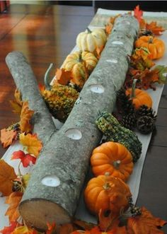 fall table, candle holders, thanksgiving recipes, thanksgiving centerpieces, thanksgiving table, table centerpieces, log, christma, tea lights