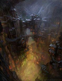 City in cave by ~SnowSkadi on deviantART