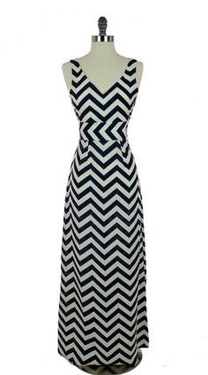 Navy Chevron Maxi Dress