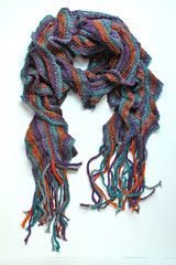 Knit Striped with Ruffles Scarf