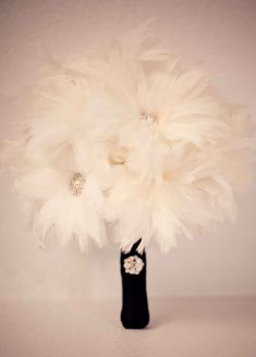 feather bouquet with rhinestones