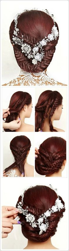 fishtail braided updo hairstyle style hair, wedding hairs, braid hairstyles, beauti, hair style, braided hairstyles, complicated hairstyles, bride, curly hair