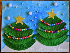 cupcake liners, christmas crafts, christma tree, beads, tree art, tree crafts, winter craft, christmas trees, paper plates
