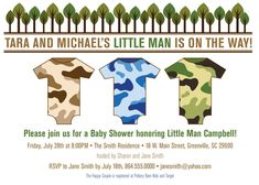 Little Man Camo Printable Boy Baby Shower Invitation, Camoflauge, Camouflage, Trees, Rustic, DIY Digital File by OhCreativeOne, LLC