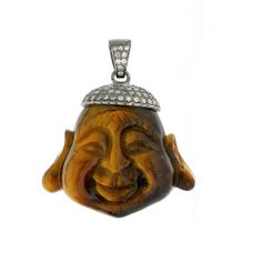 Diamond Buddha Pendant to make you smile :- )   Gross weight(gms): 18.00  Silver weight(gms): 2.57  Diamond weight(cts): 0.88  Colourstone weight(cts): 76.27