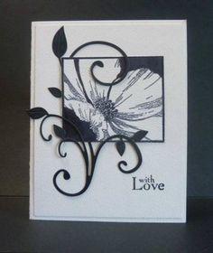 Wonderful swirl framing by Reddyisco on SCS handmad card, handmad black, flowering flourishes cards, card idea, white card, fanci flourish, swirl frame, black white, diy craft