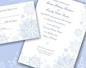 White and Light Blue Snowflake Personalized Wedding Invitations