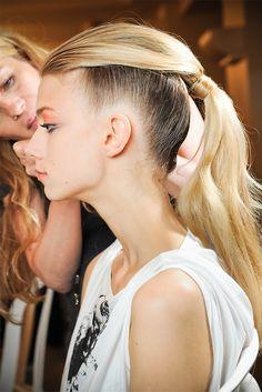 Kelli Lumi backstage at Giorgio Armani Privé Couture Fall 2011
