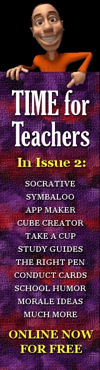 Teacher Resources: TIME for Teachers, Issue No. 2.  Lots of free stuff from one teacher to another(s) here.  This monthly publication deserves bookmarking.  Oh, there's a free app for that too! Find more free resources from DDT on this Pinterest board: http://www.pinterest.com/chadmanis/free-teachers-resources/