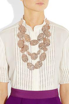 Oscar de la Renta rose gold palted hammered disc necklace on netaporter.com
