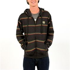 This black heather zip-up Catch A Fire Hooded Sweatshirt features horizontal Rasta colored pinstripes printed across the entire garment. The design is accented with the addition of a round Lion of Judah patch on the wearer's right sleeve and a Bob Marley Logo patch on the upper left chest.